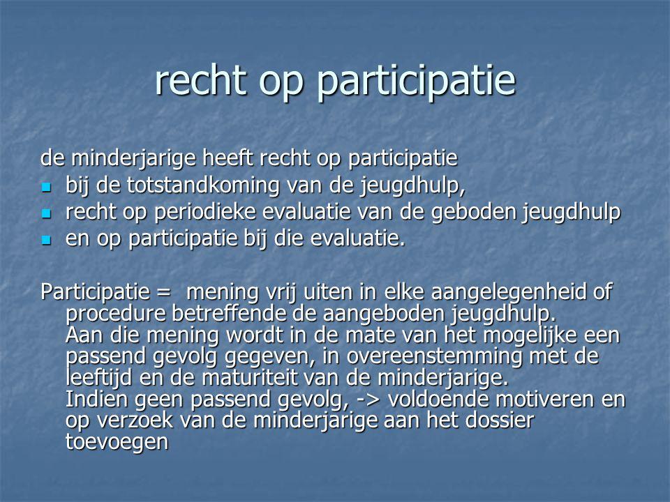 recht op participatie de minderjarige heeft recht op participatie bij de totstandkoming van de jeugdhulp, bij de totstandkoming van de jeugdhulp, recht op periodieke evaluatie van de geboden jeugdhulp recht op periodieke evaluatie van de geboden jeugdhulp en op participatie bij die evaluatie.