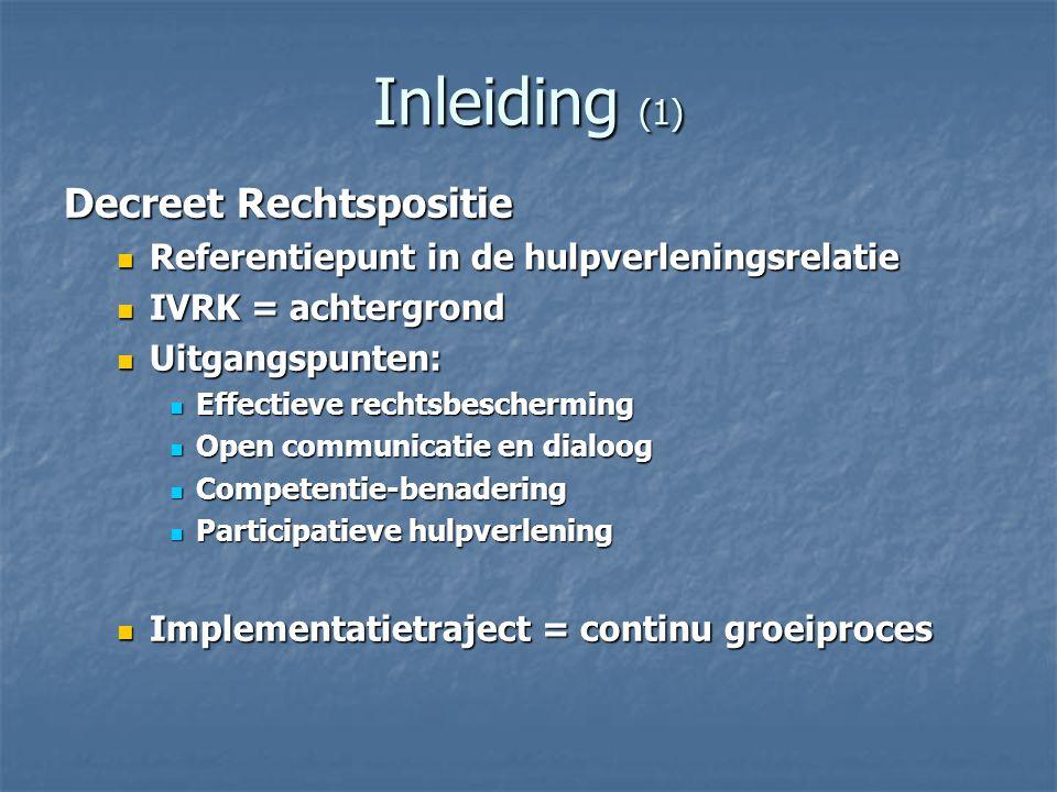 Inleiding (2) Explicitering/Integratie van bestaande regelgeving IVRK IVRK Decreet CLB Decreet CLB Bijdragen tot welbevinden van leerlingen (art 5) Bijdragen tot welbevinden van leerlingen (art 5) Belang van de leerling staat centraal (art 6) Belang van de leerling staat centraal (art 6) Informatie over rechten en plichten (art 7) Informatie over rechten en plichten (art 7) Opmaken dossier (art 10) Opmaken dossier (art 10) Ingaan op elk verzoek van de leerlingen (art 12) Ingaan op elk verzoek van de leerlingen (art 12) Respecteren van de rechten van het kind (art 27) (art 41) Respecteren van de rechten van het kind (art 27) (art 41) Bekwaamheid (art 28) Bekwaamheid (art 28) Privacywetgeving Privacywetgeving Wet op de patiëntenrechten Wet op de patiëntenrechten Decreet openbaarheid van bestuur Decreet openbaarheid van bestuur Decreet gezondheidsinformatiesystemen Decreet gezondheidsinformatiesystemen