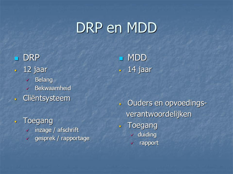 DRP en MDD DRP DRP 12 jaar 12 jaar Belang Belang Bekwaamheid Bekwaamheid Cliëntsysteem Cliëntsysteem Toegang Toegang inzage / afschrift inzage / afsch