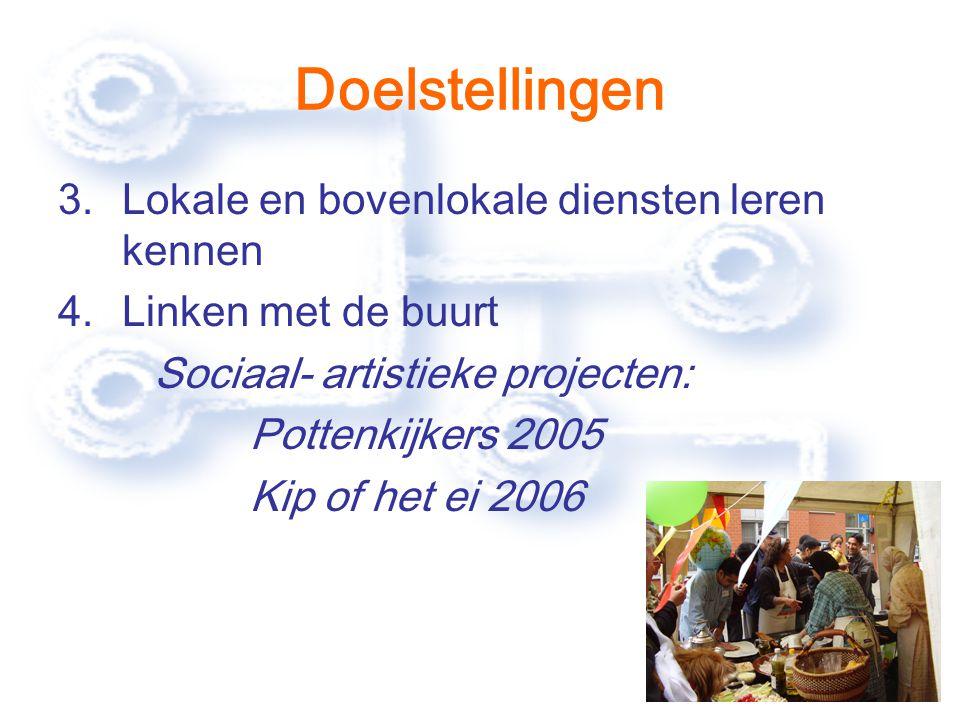 Doelstellingen 3.Lokale en bovenlokale diensten leren kennen 4.Linken met de buurt Sociaal- artistieke projecten: Pottenkijkers 2005 Kip of het ei 2006