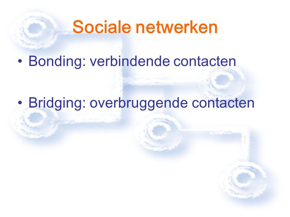 Sociale netwerken Bonding: verbindende contacten Bridging: overbruggende contacten