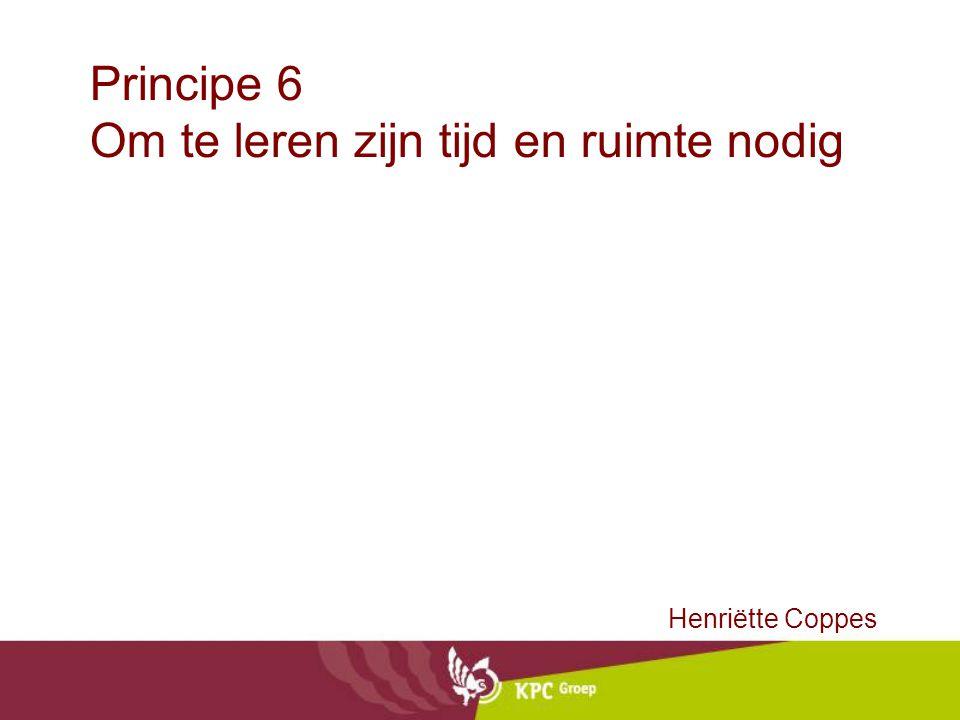 Principe 6 Om te leren zijn tijd en ruimte nodig Henriëtte Coppes