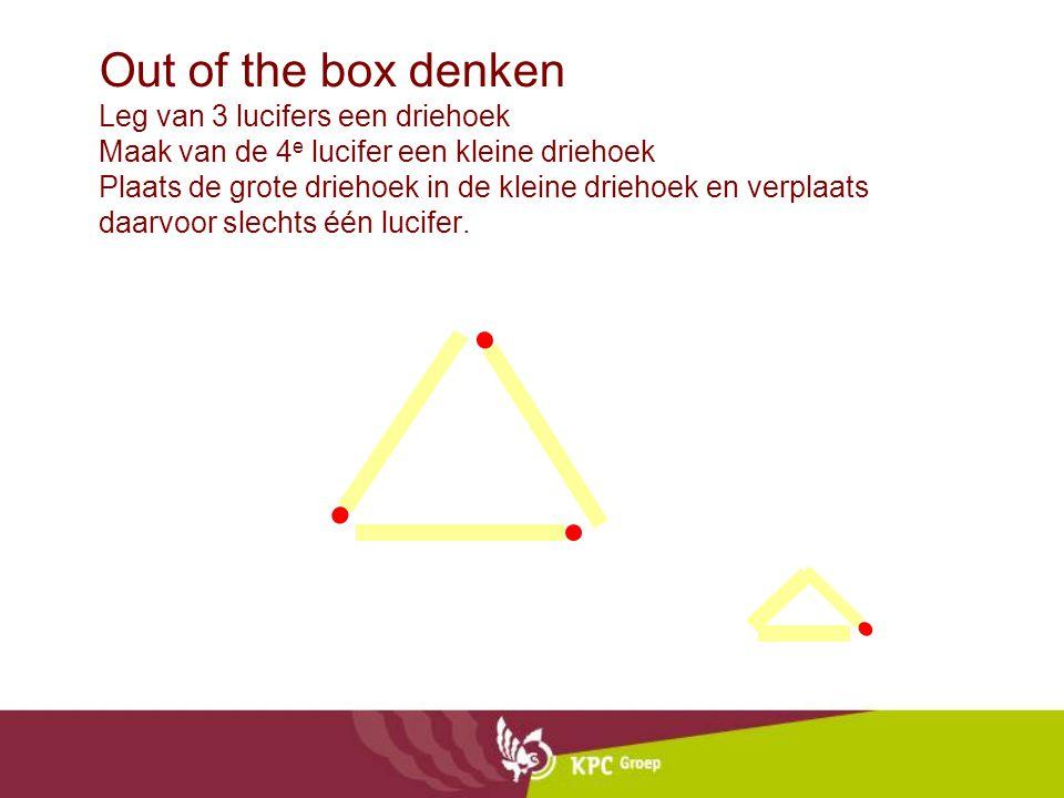 Out of the box denken Leg van 3 lucifers een driehoek Maak van de 4 e lucifer een kleine driehoek Plaats de grote driehoek in de kleine driehoek en ve