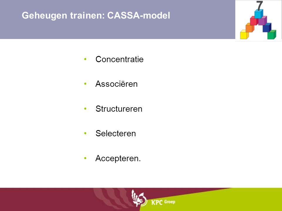 Concentratie Associëren Structureren Selecteren Accepteren. Geheugen trainen: CASSA-model