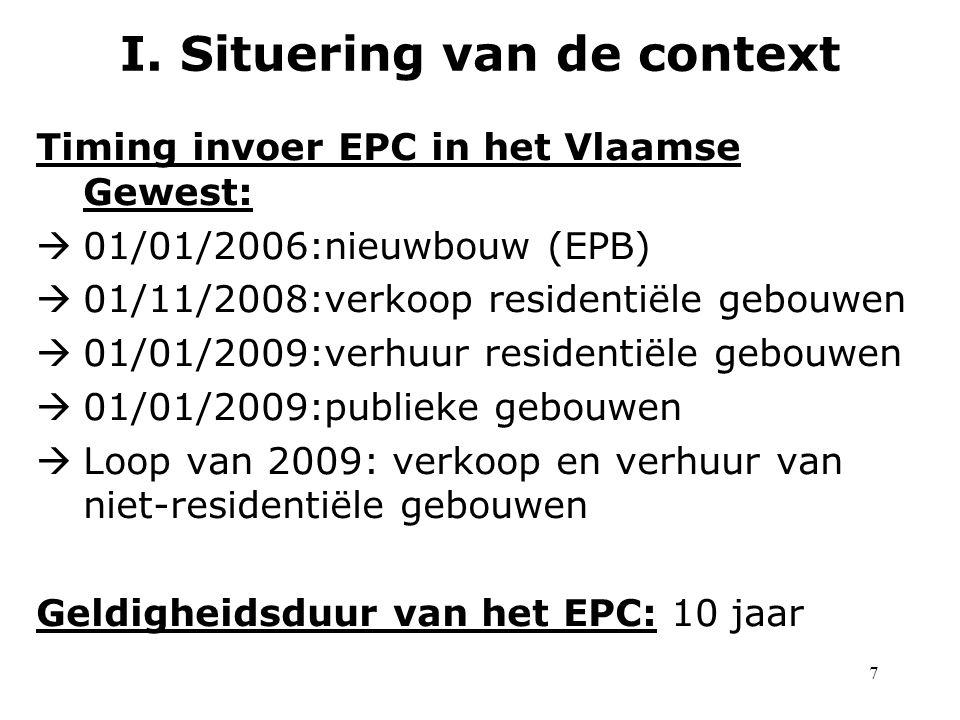 7 Timing invoer EPC in het Vlaamse Gewest:  01/01/2006:nieuwbouw (EPB)  01/11/2008:verkoop residentiële gebouwen  01/01/2009:verhuur residentiële gebouwen  01/01/2009:publieke gebouwen  Loop van 2009: verkoop en verhuur van niet-residentiële gebouwen Geldigheidsduur van het EPC: 10 jaar I.
