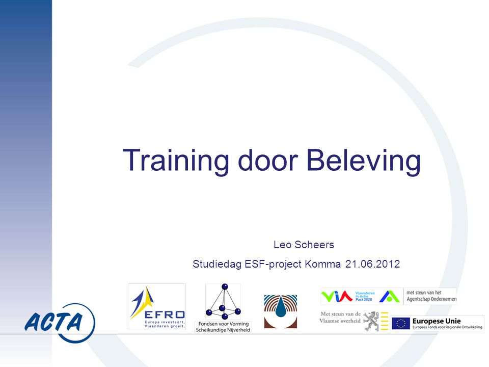 Training door Beleving Leo Scheers Studiedag ESF-project Komma