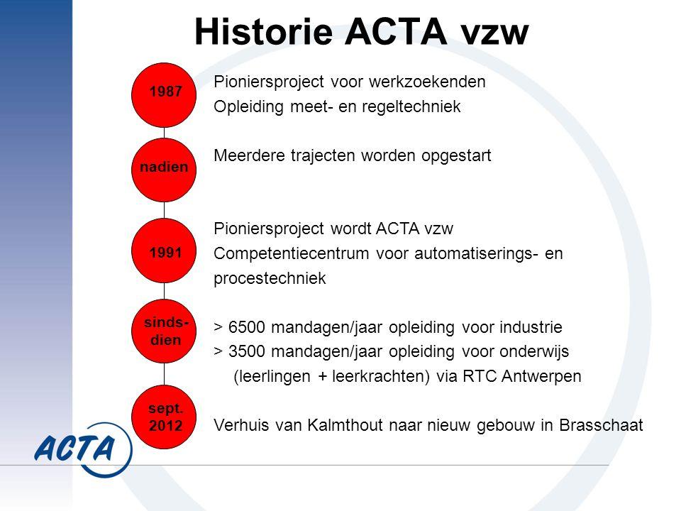 Historie ACTA vzw Pioniersproject voor werkzoekenden Opleiding meet- en regeltechniek Meerdere trajecten worden opgestart Pioniersproject wordt ACTA vzw Competentiecentrum voor automatiserings- en procestechniek > 6500 mandagen/jaar opleiding voor industrie > 3500 mandagen/jaar opleiding voor onderwijs (leerlingen + leerkrachten) via RTC Antwerpen Verhuis van Kalmthout naar nieuw gebouw in Brasschaat 1987 nadien 1991 sinds- dien sept.
