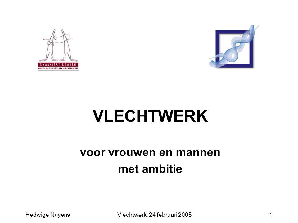 Hedwige NuyensVlechtwerk, 24 februari 20051 VLECHTWERK voor vrouwen en mannen met ambitie