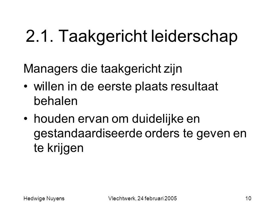 Hedwige NuyensVlechtwerk, 24 februari 200510 2.1. Taakgericht leiderschap Managers die taakgericht zijn willen in de eerste plaats resultaat behalen h