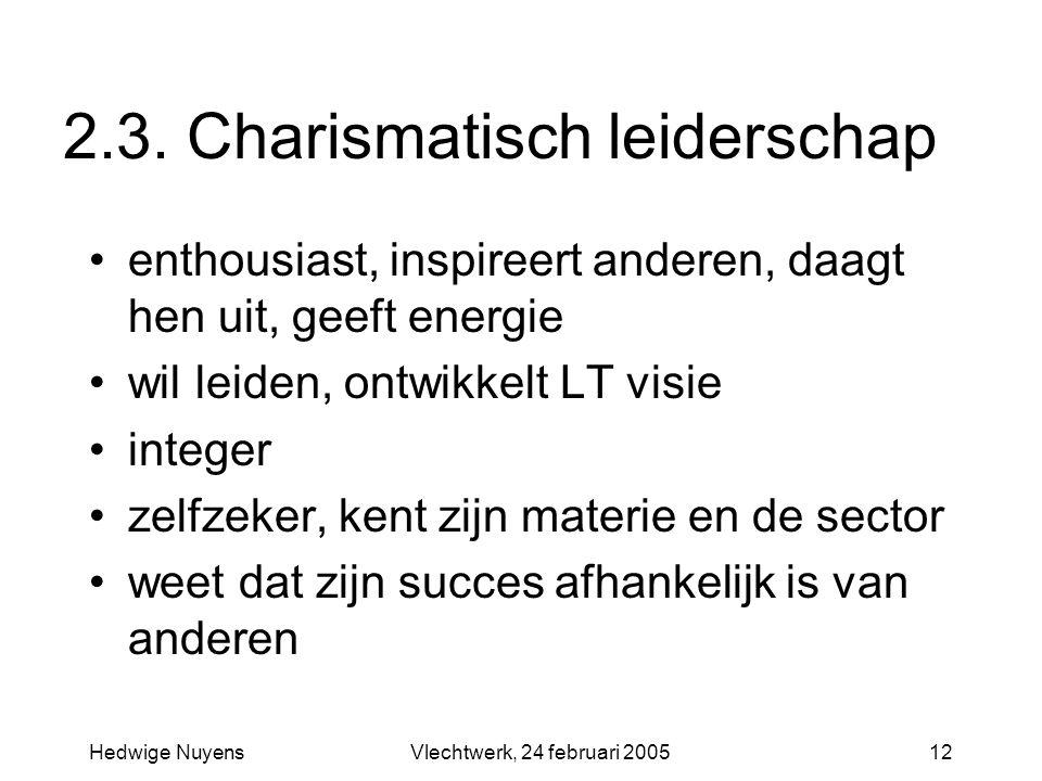 Hedwige NuyensVlechtwerk, 24 februari 200512 2.3. Charismatisch leiderschap enthousiast, inspireert anderen, daagt hen uit, geeft energie wil leiden,