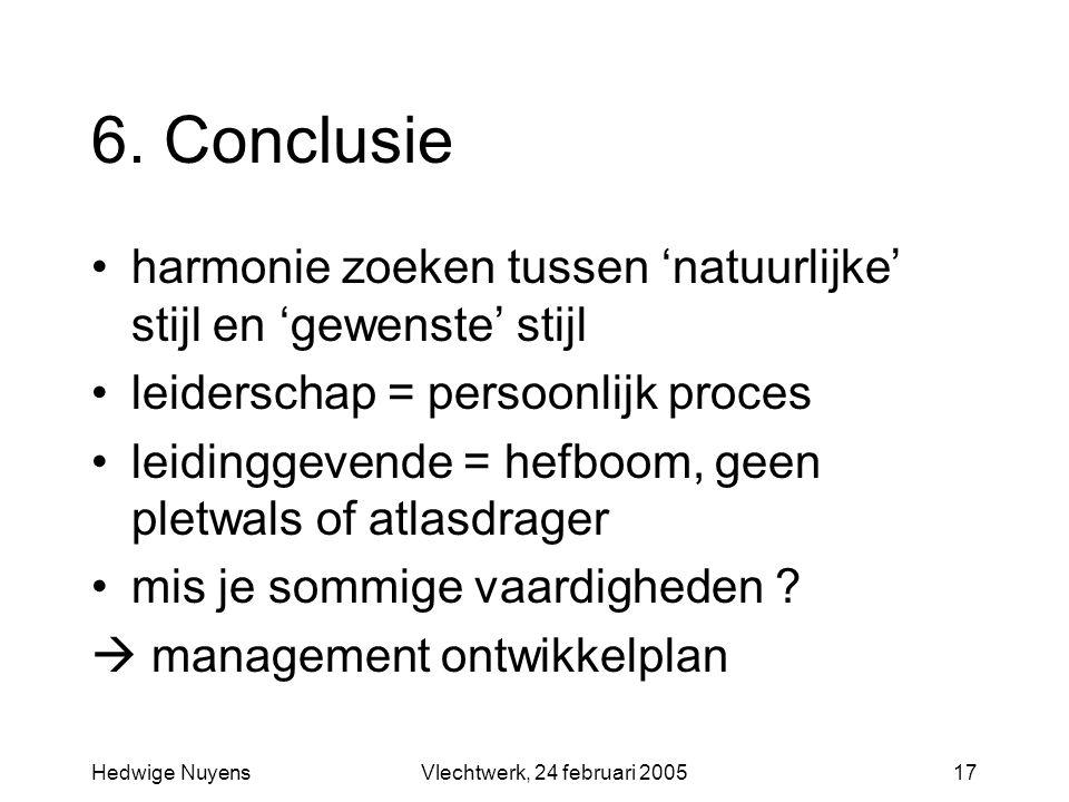 Hedwige NuyensVlechtwerk, 24 februari 200517 6. Conclusie harmonie zoeken tussen 'natuurlijke' stijl en 'gewenste' stijl leiderschap = persoonlijk pro