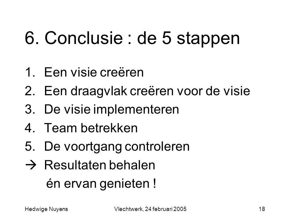 Hedwige NuyensVlechtwerk, 24 februari 200518 6. Conclusie : de 5 stappen 1.Een visie creëren 2.Een draagvlak creëren voor de visie 3.De visie implemen