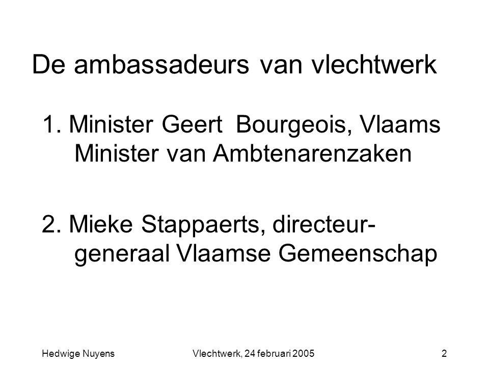 Hedwige NuyensVlechtwerk, 24 februari 20052 De ambassadeurs van vlechtwerk 1. Minister Geert Bourgeois, Vlaams Minister van Ambtenarenzaken 2. Mieke S
