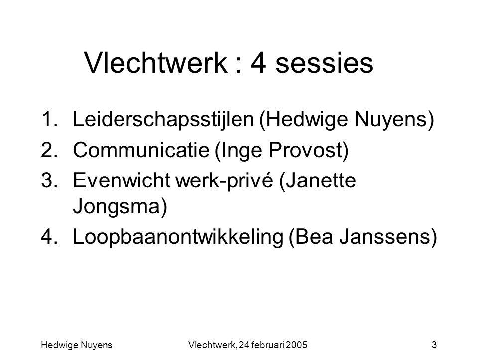 Hedwige NuyensVlechtwerk, 24 februari 20053 Vlechtwerk : 4 sessies 1.Leiderschapsstijlen (Hedwige Nuyens) 2.Communicatie (Inge Provost) 3.Evenwicht werk-privé (Janette Jongsma) 4.Loopbaanontwikkeling (Bea Janssens)