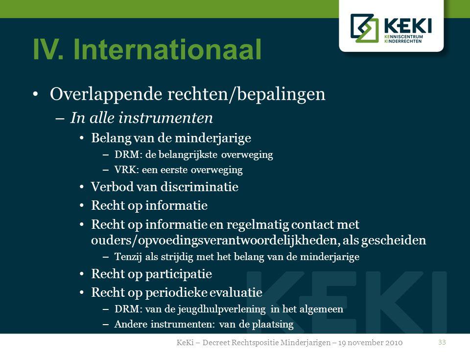 IV. Internationaal Overlappende rechten/bepalingen – In alle instrumenten Belang van de minderjarige – DRM: de belangrijkste overweging – VRK: een eer