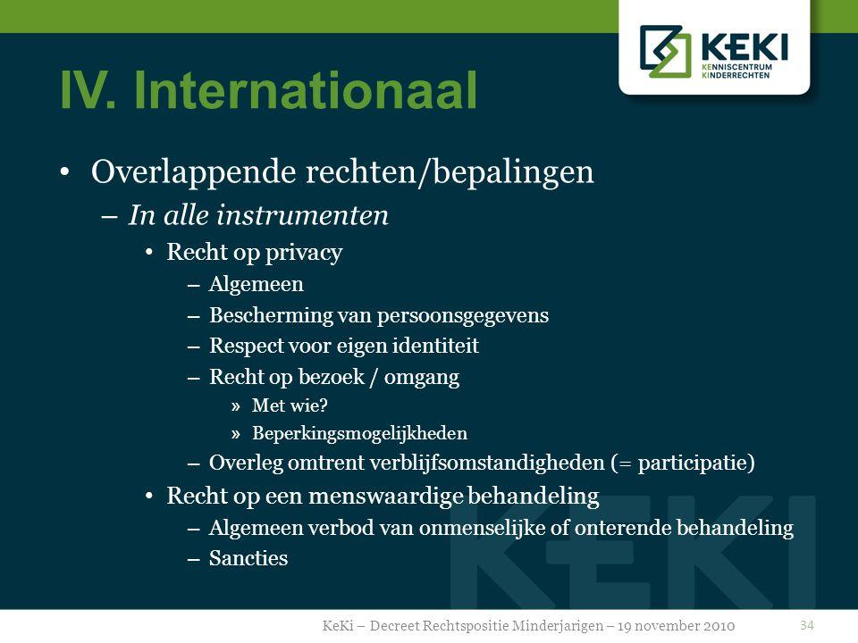IV. Internationaal Overlappende rechten/bepalingen – In alle instrumenten Recht op privacy – Algemeen – Bescherming van persoonsgegevens – Respect voo