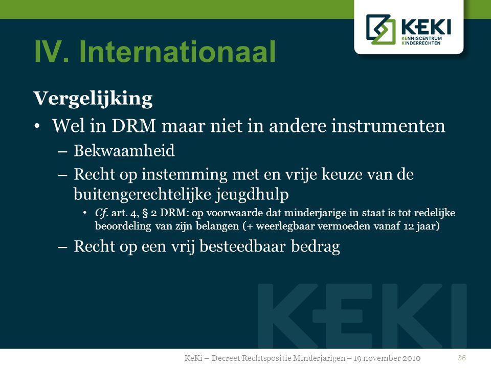IV. Internationaal Vergelijking Wel in DRM maar niet in andere instrumenten – Bekwaamheid – Recht op instemming met en vrije keuze van de buitengerech