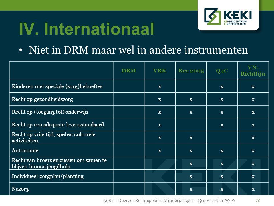 IV. Internationaal Niet in DRM maar wel in andere instrumenten KeKi – Decreet Rechtspositie Minderjarigen – 19 november 2010 38 DRMVRKRec 2005Q4C VN-