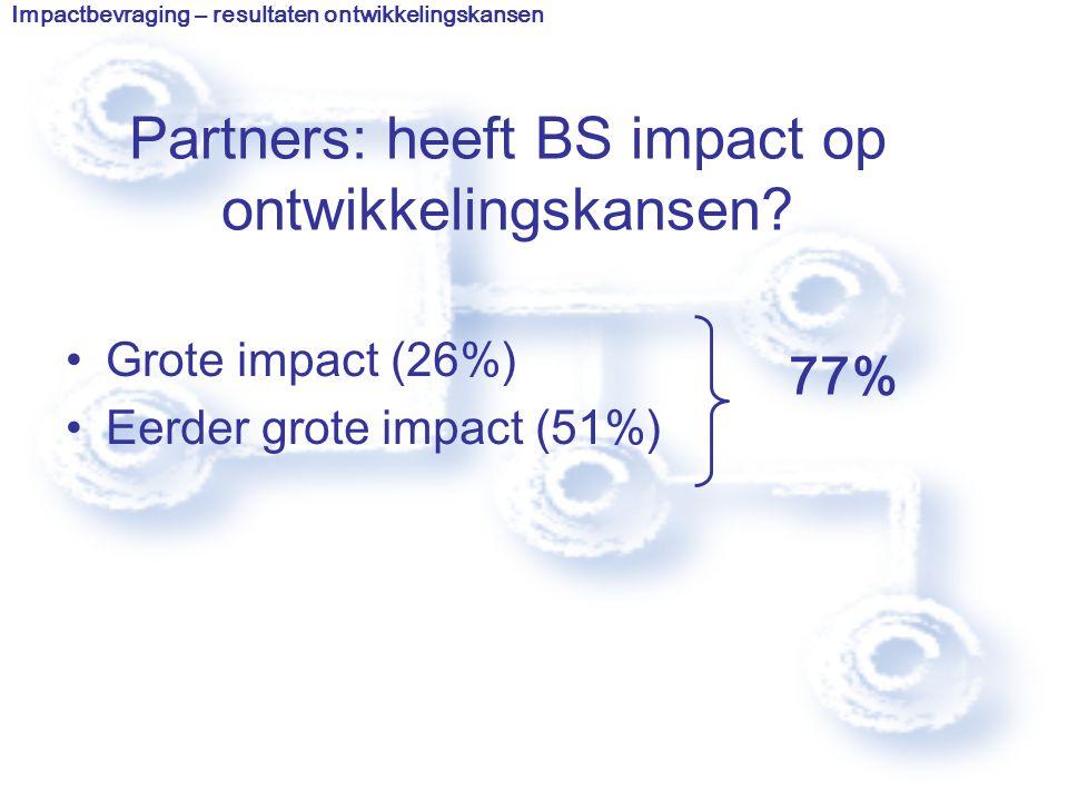 Partners: heeft BS impact op ontwikkelingskansen.
