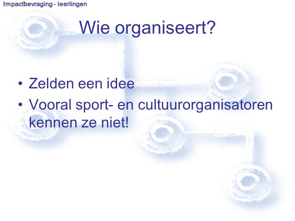 Zelden een idee Vooral sport- en cultuurorganisatoren kennen ze niet.