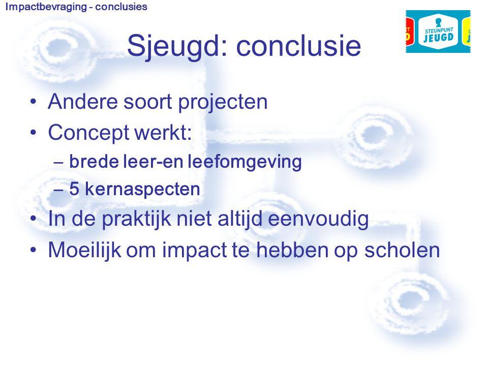 Sjeugd: conclusie Andere soort projecten Concept werkt: –brede leer-en leefomgeving –5 kernaspecten In de praktijk niet altijd eenvoudig Moeilijk om impact te hebben op scholen Impactbevraging - conclusies