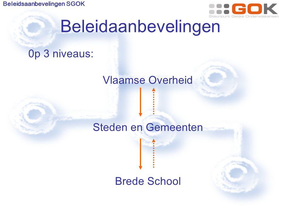 Beleidaanbevelingen Vlaamse Overheid Steden en Gemeenten Brede School Beleidsaanbevelingen SGOK 0p 3 niveaus:
