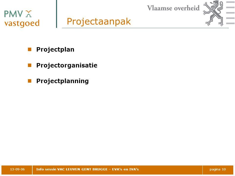 13-09-06Info sessie VAC LEUVEN GENT BRUGGE – EVA's en IVA'spagina 10 Projectaanpak Projectplan Projectorganisatie Projectplanning