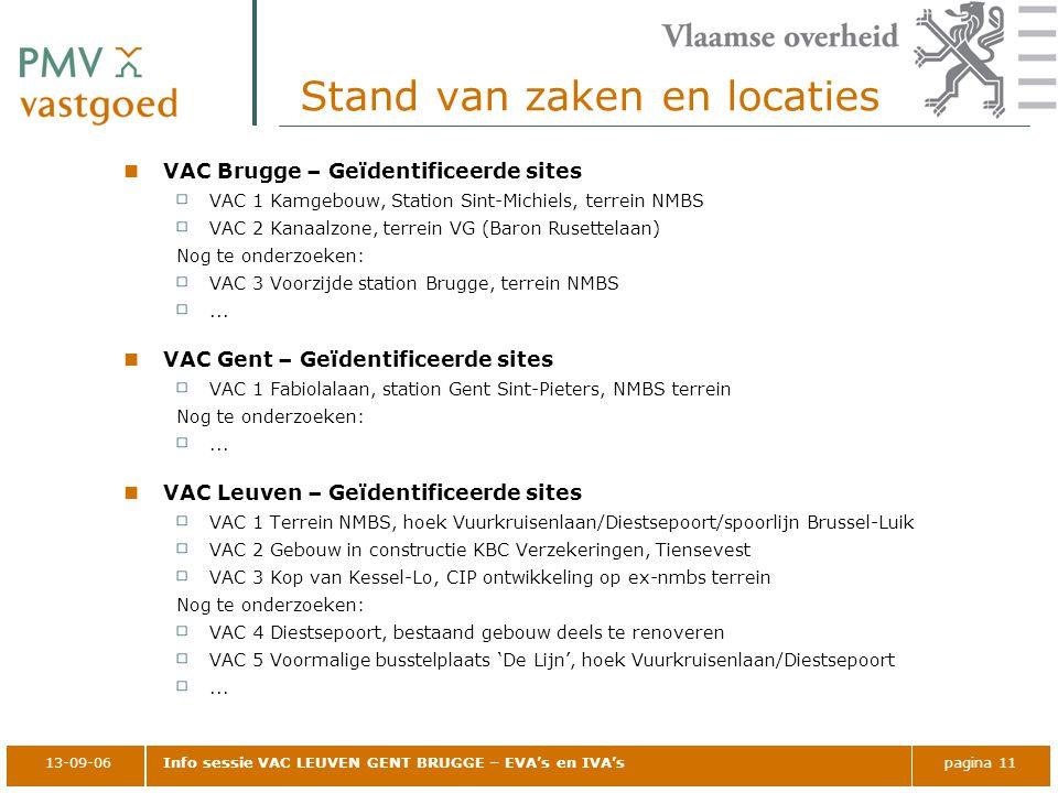 13-09-06Info sessie VAC LEUVEN GENT BRUGGE – EVA's en IVA'spagina 11 Stand van zaken en locaties VAC Brugge – Geïdentificeerde sites VAC 1 Kamgebouw,