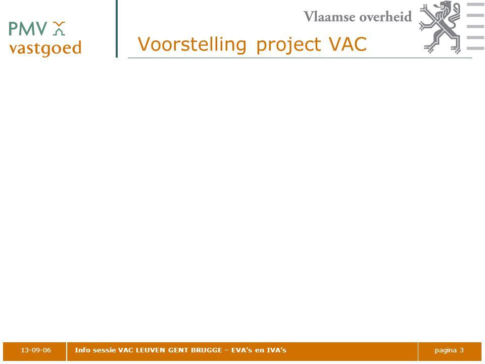 13-09-06Info sessie VAC LEUVEN GENT BRUGGE – EVA's en IVA'spagina 3 Voorstelling project VAC