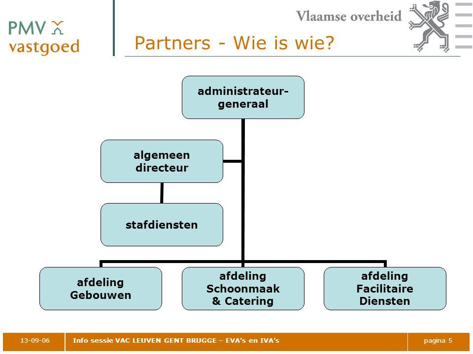 13-09-06Info sessie VAC LEUVEN GENT BRUGGE – EVA's en IVA'spagina 5 Partners - Wie is wie? administrateur- generaal afdeling Gebouwen afdeling Schoonm