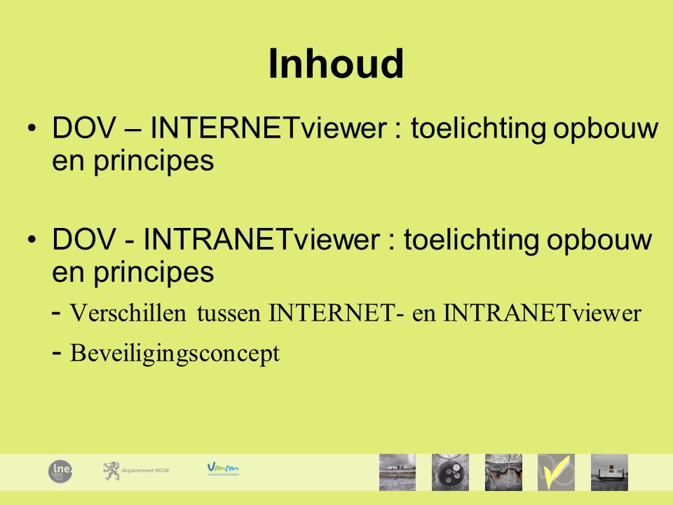 Inhoud DOV – INTERNETviewer : toelichting opbouw en principes DOV - INTRANETviewer : toelichting opbouw en principes - Verschillen tussen INTERNET- en