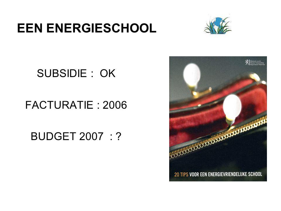 EEN ENERGIESCHOOL SUBSIDIE : OK FACTURATIE : 2006 BUDGET 2007 : ?