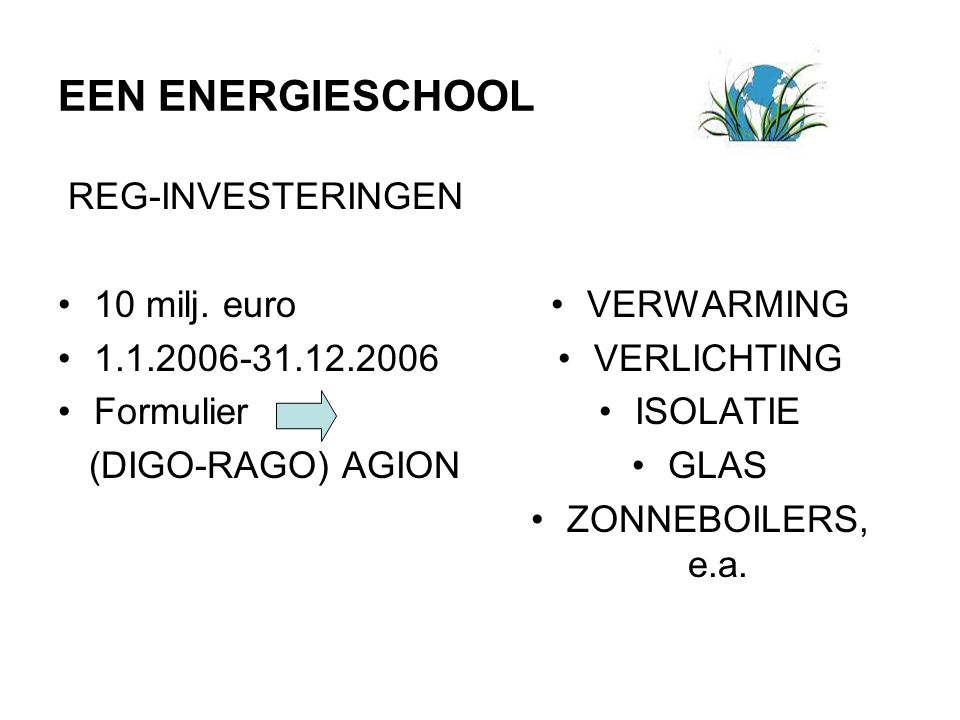 EEN ENERGIESCHOOL REG-INVESTERINGEN 10 milj. euro 1.1.2006-31.12.2006 Formulier (DIGO-RAGO) AGION VERWARMING VERLICHTING ISOLATIE GLAS ZONNEBOILERS, e