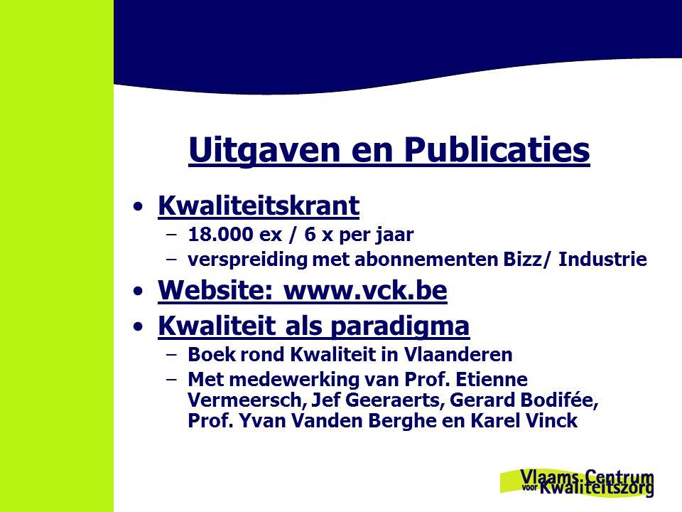 Uitgaven en Publicaties Kwaliteitskrant –18.000 ex / 6 x per jaar –verspreiding met abonnementen Bizz/ Industrie Website: www.vck.bewww.vck.be Kwaliteit als paradigma –Boek rond Kwaliteit in Vlaanderen –Met medewerking van Prof.