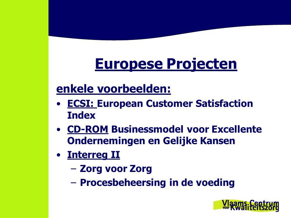 Europese Projecten enkele voorbeelden: ECSI: European Customer Satisfaction Index CD-ROM Businessmodel voor Excellente Ondernemingen en Gelijke Kansen Interreg II –Zorg voor Zorg –Procesbeheersing in de voeding