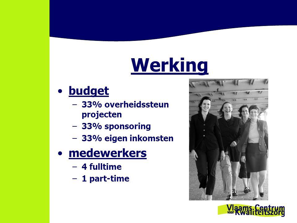 Werking budget –33% overheidssteun projecten –33% sponsoring –33% eigen inkomsten medewerkers –4 fulltime –1 part-time
