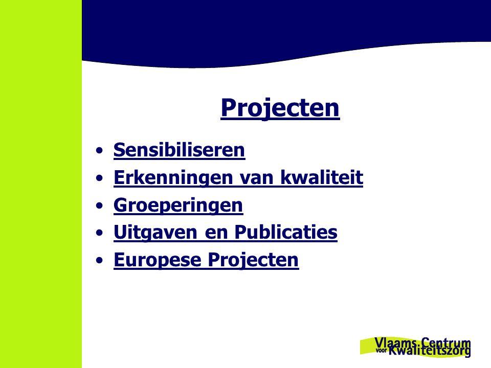 Projecten Sensibiliseren Erkenningen van kwaliteit Groeperingen Uitgaven en Publicaties Europese Projecten