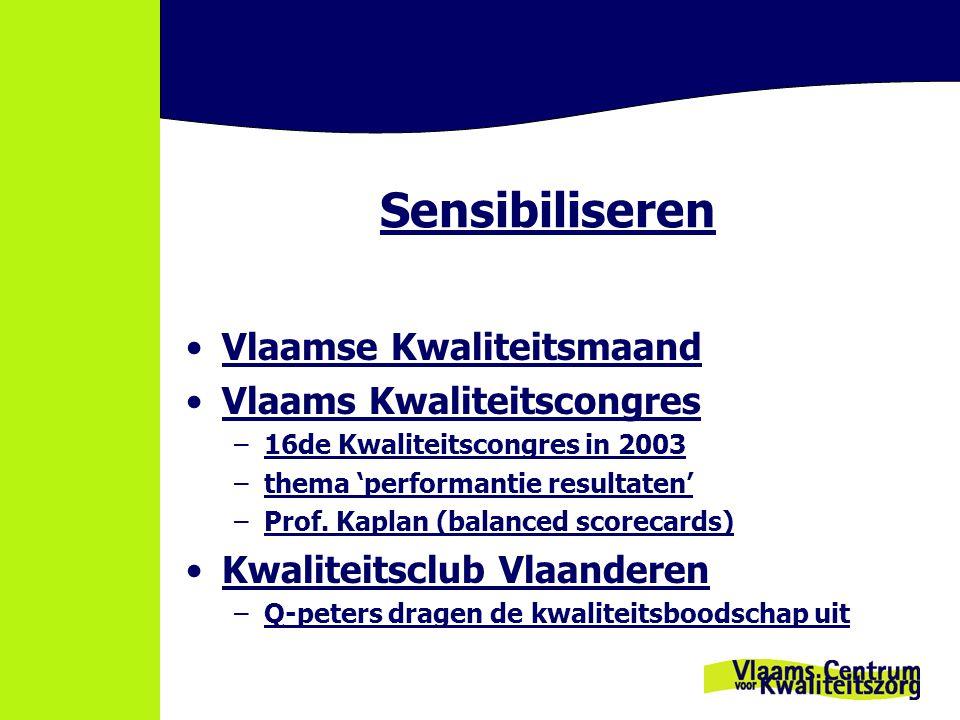 Sensibiliseren Vlaamse Kwaliteitsmaand Vlaams Kwaliteitscongres –16de Kwaliteitscongres in 2003 –thema 'performantie resultaten' –Prof. Kaplan (balanc
