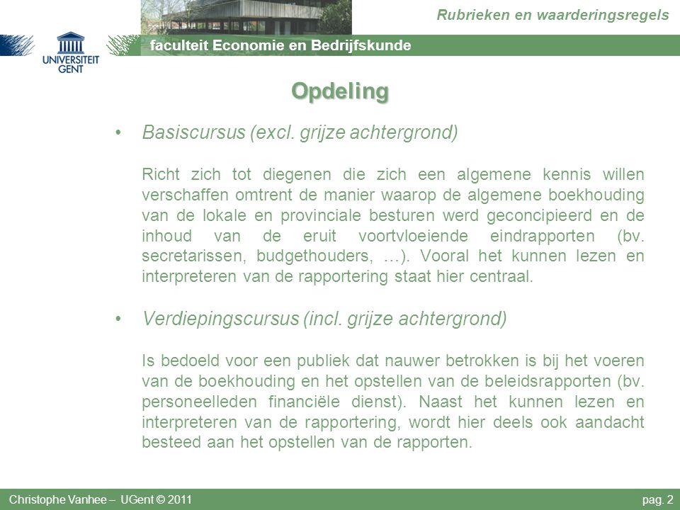 faculteit Economie en Bedrijfskunde Rubrieken en waarderingsregels Deel 7 Niet in de balans opgenomen rechten en verplichtingen Christophe Vanhee – UGent © 2011pag.