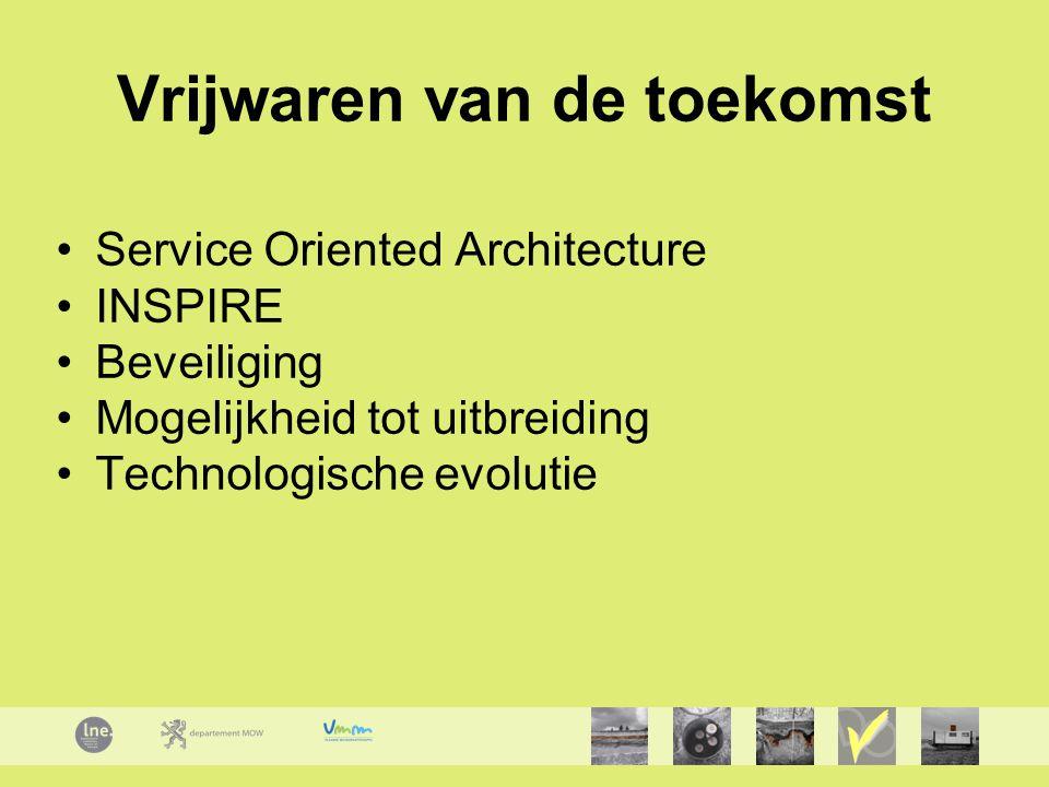 Vrijwaren van de toekomst Service Oriented Architecture INSPIRE Beveiliging Mogelijkheid tot uitbreiding Technologische evolutie