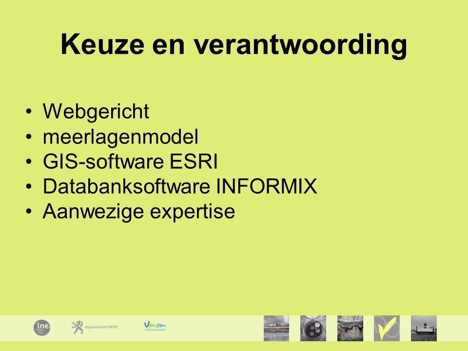 Keuze en verantwoording Webgericht meerlagenmodel GIS-software ESRI Databanksoftware INFORMIX Aanwezige expertise