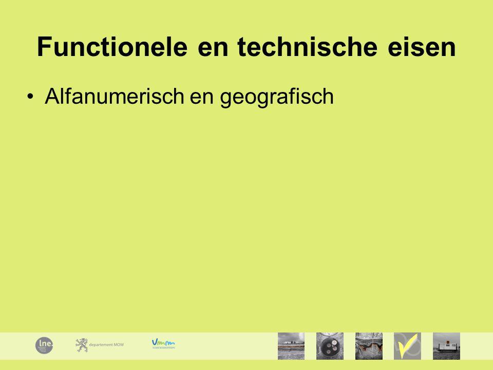 Functionele en technische eisen Alfanumerisch en geografisch