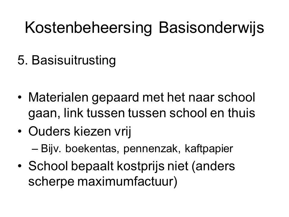 Kostenbeheersing Basisonderwijs 5.