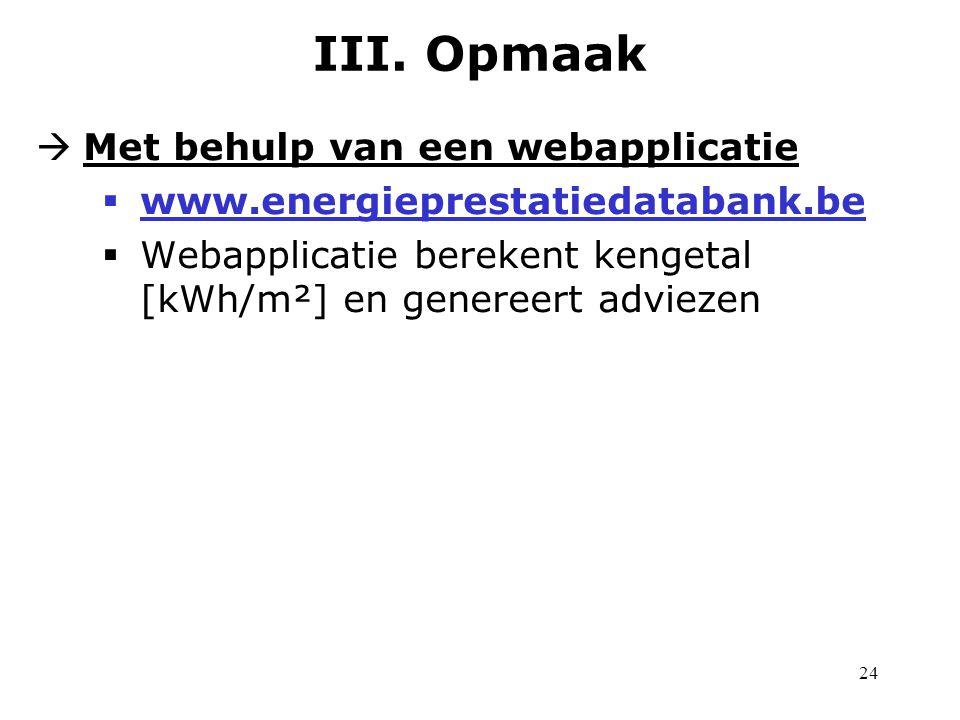 24  Met behulp van een webapplicatie  www.energieprestatiedatabank.be  Webapplicatie berekent kengetal [kWh/m²] en genereert adviezen III.