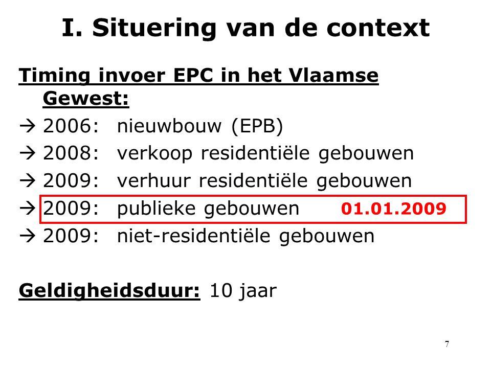 7 Timing invoer EPC in het Vlaamse Gewest:  2006:nieuwbouw (EPB)  2008:verkoop residentiële gebouwen  2009:verhuur residentiële gebouwen  2009:publieke gebouwen  2009:niet-residentiële gebouwen Geldigheidsduur: 10 jaar I.