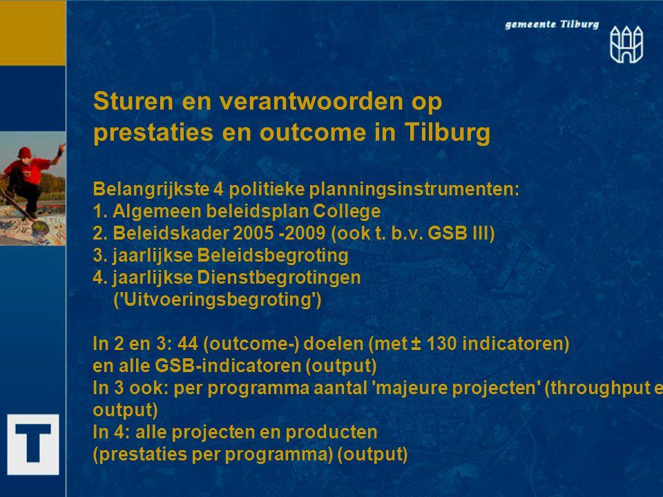 Sturen en verantwoorden op prestaties en outcome in Tilburg Belangrijkste 4 politieke planningsinstrumenten: 1. Algemeen beleidsplan College 2. Beleid