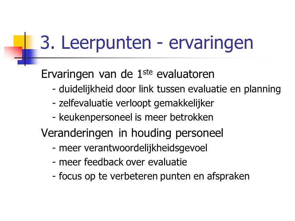 3. Leerpunten - ervaringen Ervaringen van de 1 ste evaluatoren - duidelijkheid door link tussen evaluatie en planning - zelfevaluatie verloopt gemakke