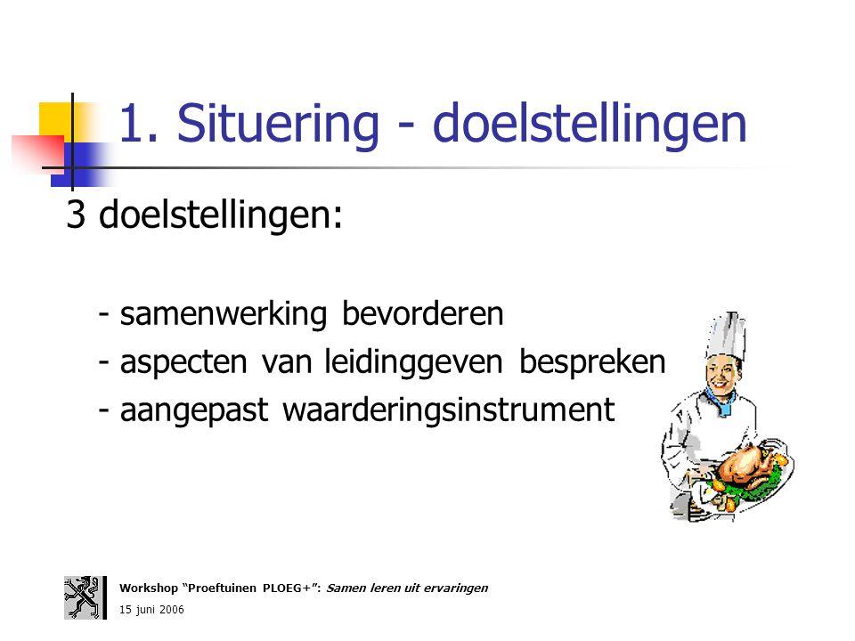 1. Situering - doelstellingen 3 doelstellingen: - samenwerking bevorderen - aspecten van leidinggeven bespreken - aangepast waarderingsinstrument Work