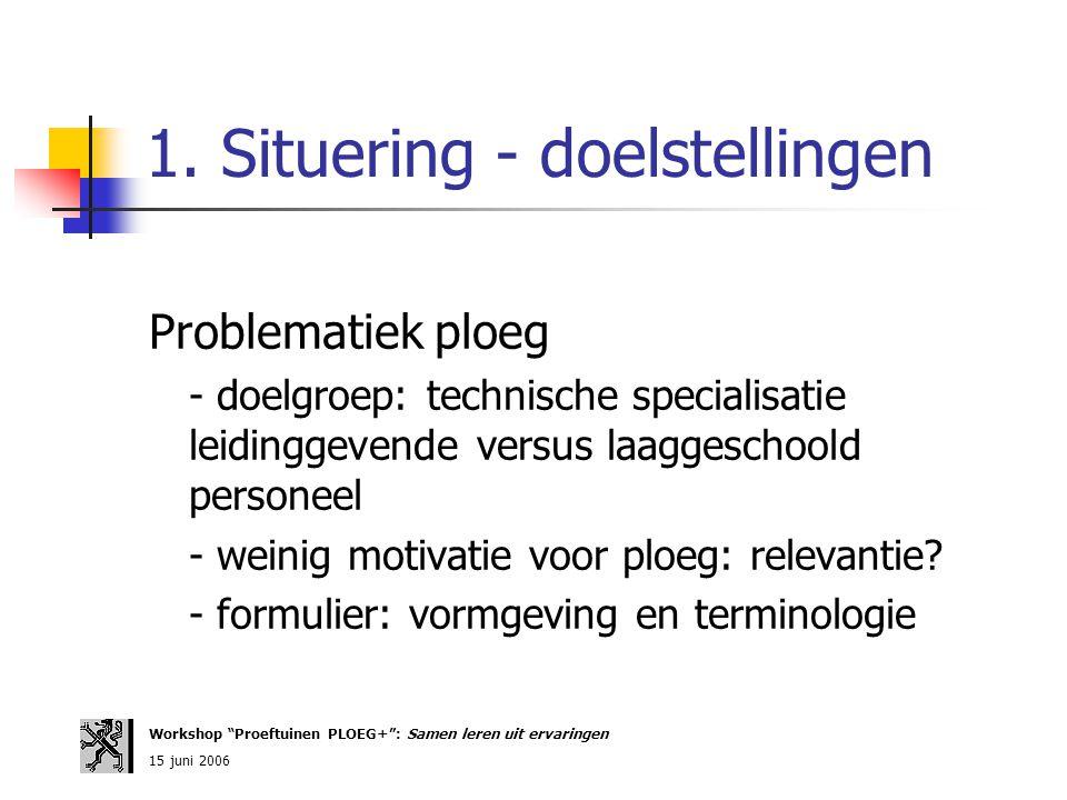 1. Situering - doelstellingen Problematiek ploeg - doelgroep: technische specialisatie leidinggevende versus laaggeschoold personeel - weinig motivati