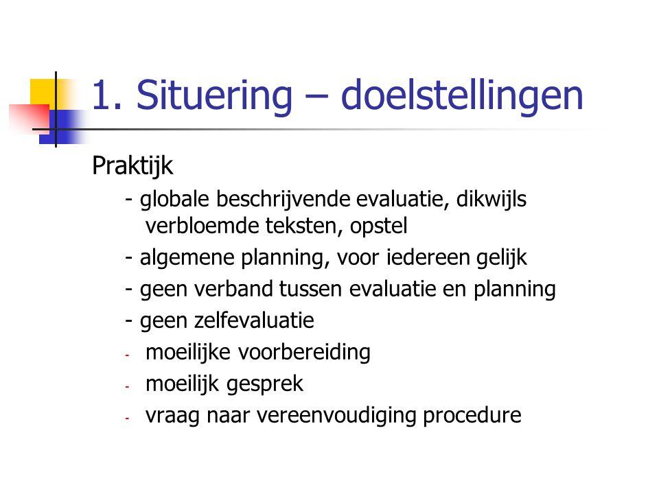 1. Situering – doelstellingen Praktijk - globale beschrijvende evaluatie, dikwijls verbloemde teksten, opstel - algemene planning, voor iedereen gelij